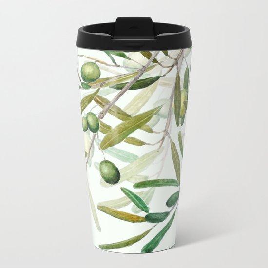 Green Olive watercolor painting Metal Travel Mug