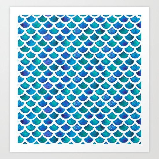 Blue Mermaid Scales Art Print