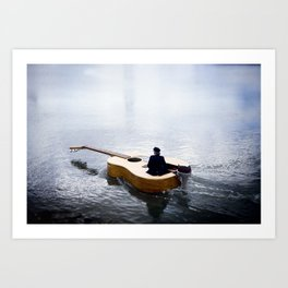 The guitar boat Art Print