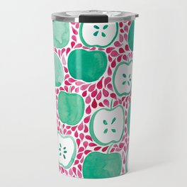 Watercolour Apples   Original Red and Green Palette Travel Mug