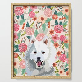 Japanese Spitz floral pet portrait wall art and gifts for dog breed lovers Serving Tray