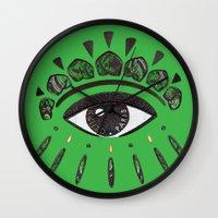 kenzo Wall Clocks featuring Kenzo eye green by cvrcak
