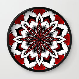 Mandala : Red Flower Mandala Wall Clock