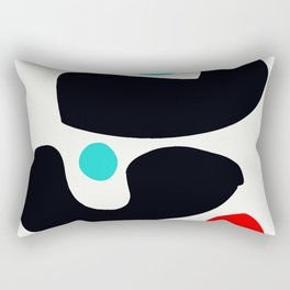 Abstract Art Minimalism Blue Black and Red Rectangular Pillow