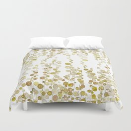 golden string of pearls watercolor Duvet Cover