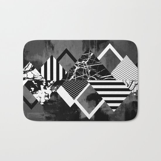 STAND OUT! In Black And White - Abstract, textured geometry! Bath Mat