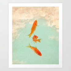 Goldfish in the sky Art Print