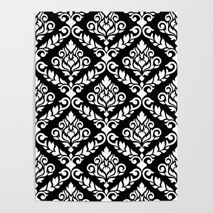 Prima Damask Pattern White on Black Poster