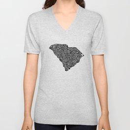 Typographic South Carolina Unisex V-Neck