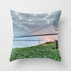 Sunset at the Humber Bridge Throw Pillow