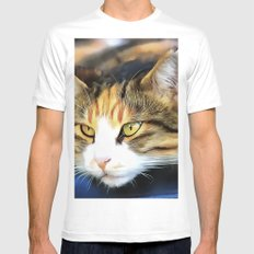 Contented Cat Mens Fitted Tee White MEDIUM