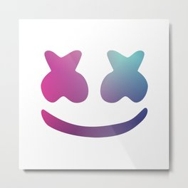 Marshmello Face - Blue Violet Design Metal Print