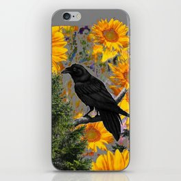 CROW & SUNFLOWERS WILDERNESS GREY ART iPhone Skin