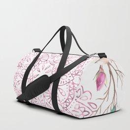 Mandala Rose Garden Pink on White Duffle Bag