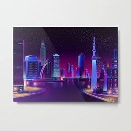 Synthwave Neon City #24 Metal Print