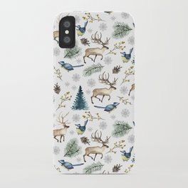 Winter forest. White pattern iPhone Case