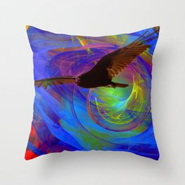 Vulture Escaping From Hell Throw Pillow