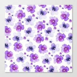 Modern purple lavender watercolor floral pattern Canvas Print