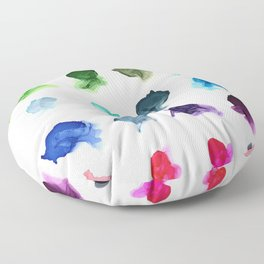 Rainbow Ink Swatch Splotches Painting Floor Pillow