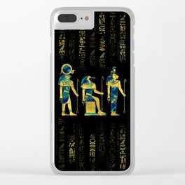 Egyptian Deities  on hieroglyphics gold and marble Clear iPhone Case