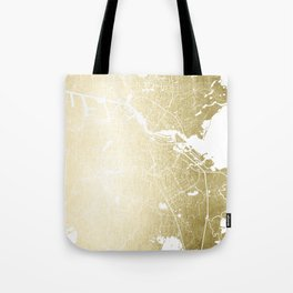 Amsterdam Gold on White Street Map Tote Bag