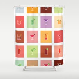 Classic Cocktails Print Art Poster | Drink Recipes | Bar Poster | Bar Art | Kitchen Art | Alcohol Shower Curtain