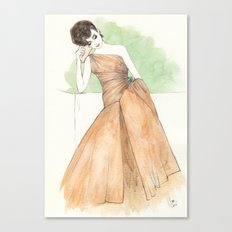 'Gillian' Watercolor Fashion Illustration Canvas Print