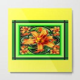 Old Fashioned Orange Day Lilies  Garden Pattern Metal Print