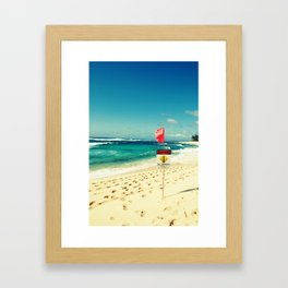 sunset beach flag Framed Art Print