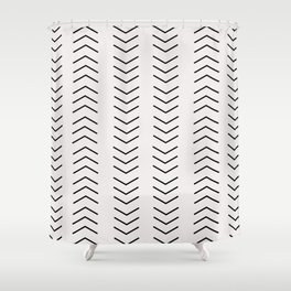 mudcloth pattern white black arrows Shower Curtain