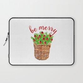 Be Merry Red Berries in Christmas Basket Laptop Sleeve