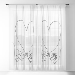 Pinky Promise His and Hers Romantic Love Illustration Sheer Curtain
