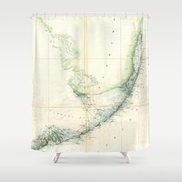 Vintage Map of The Florida Keys (1859) Shower Curtain