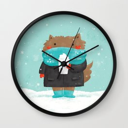 Winter Cat Wall Clock