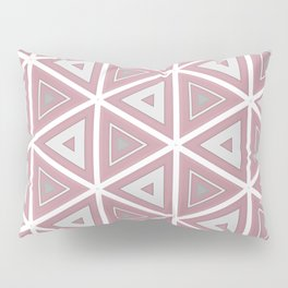 Bright White and Pink Triangle Pattern Pillow Sham
