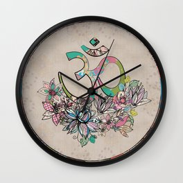 OM symbol  composition vintage scrapbook style with flowers Wall Clock