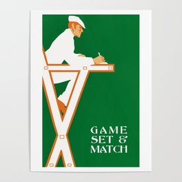 Game set and match retro tennis referee Poster