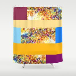 Swirl Amoeba  Patchwork Colorblock Canvas Shower Curtain