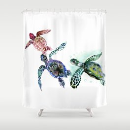 Sea Turtle Family, family art Shower Curtain