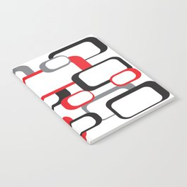 Red Black Gray Retro Square Pattern White Notebook