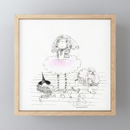 Mother and daughter play in disguise | Ink and watercolor art by asillustrations Framed Mini Art Print