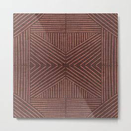 Terracotta clay lines - textured abstract geometric Metal Print