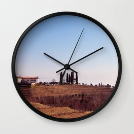 Winter morning in the vineyards of Collio, Italy Wall Clock