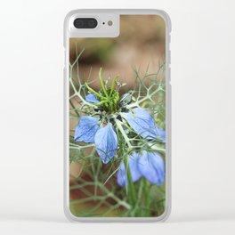 Blue Flowers Nigella damascena Clear iPhone Case