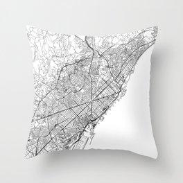 Barcelona White Map Throw Pillow