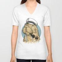 walrus V-neck T-shirts featuring WALRUS by Thiago Bianchini