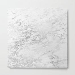 Light Grey Marble Silver Glitter Gray Metal Print