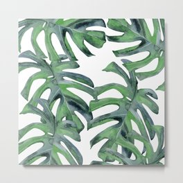 Tropical Palm Leaves Green on White Metal Print