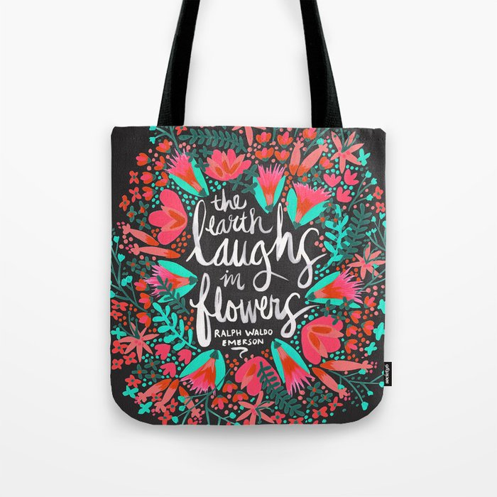 The Earth Laughs in Flowers – Pink & Charcoal Tote Bag