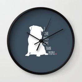 I Love Pugs Wall Clock